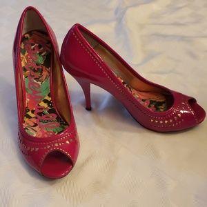 Betseyville Betsey J.  Hot Pink Peep Toe Heels EUC